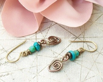 Wire Wrapped Jewelry Handmade Mixed Metal Earrings Boho Jewelry Rustic Jewelry Dangle Handmade Earrings