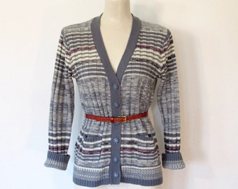 Vintage 1970s Blue & White Striped Cardigan / Space Dyed Knit Button-down Sweater