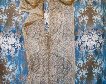 Vintage Lace Mantel,  Ribbon Work on Lace,  Flapper Clothing,  Period Fashion, Gatsby Clothing, Downton Abbey Accessory, Tea Dance Shawl