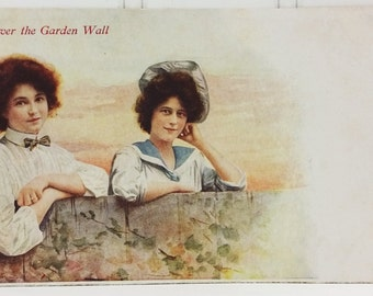 Over the Garden Wall Postcard, Two Women at Fence Unused Postcard Supplement to Indianapolis Star