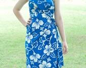 Vintage 1960s strapless dress by Royal Hawaiian / shoulder sash dress