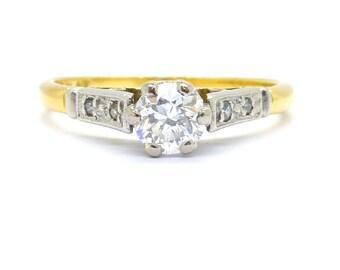 Antique diamond solitaire engagement ring 1920's 18ct Platinum Millegrain Single stone Edwardian-Art Deco Wedding Small size *FREE SHIP