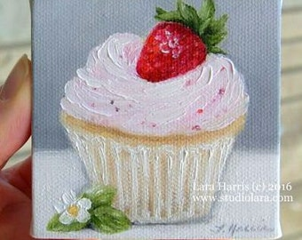 CUSTOM Strawberry Cupcake Mini Painting in OIL by Lara ACEO 3x3 Still Life