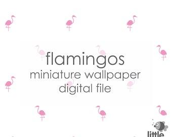 "Digital Download ""Flamingos"" miniature dollhouse wallpaper"