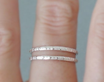 Sterling Silver Rings 1 or 2 Stacking Rings Patterned Ring thin textured silver stacking rings