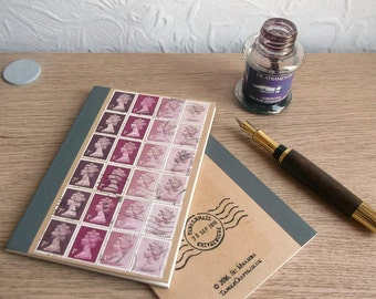 Old Rose Upcycled A6 Kraft Notebook | lined pocket journal, writing book | recycled British stamps mail art gift for penpal, gift for writer