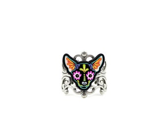 Chihuahua in Black - Day of the Dead Sugar Skull Dog Adjustable Ring
