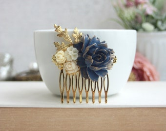 Navy Blue Roses Hair Comb, Vintage Inspired Wedding Hair Comb, Blue Wedding Hair Comb, Something Blue Hair Piece Blue Bridal Hair Comb