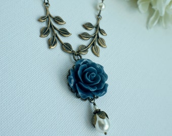 Blue Flower Necklace Navy Flower and Pearls Necklace Navy Wedding Gift Dark Blue Flowers Something Blue Necklace Flower and Leaves Necklace