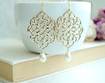 Gold Filigree Earrings, Lace Filigree Dangle Earrings, Large Modern Gold Chandelier Pearl Earrings, Boho Jewelry Boho Bride Bridesmaids Gift