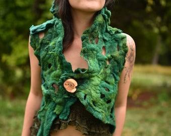 Felt Pixie Vest-Woodland Top- Forest Costume-Festival Wear-Nymph Out Fit-Wool Vest-Elf Top-Burning Man-Tree Costume-Wearable Art- OOAK