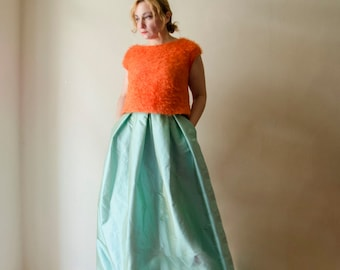 Aqua Maxi Skirt, Silk Taffeta Long Evening Skirt Pleats Pockets, Prom Skirt, Bridesmaids Skirt, Customize color and length, Plus sizes