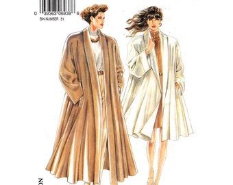 Swing Coat Pattern New Look 6938 Raglan Sleeve Coat Shawl Collar, Lined Long Trapeze Coat Womens Sewing Pattern Size 8 to 18 UNCUT