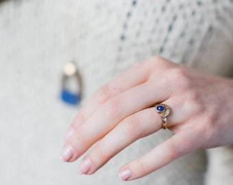 Float Ring - Bronze or Sterling Silver Moonstone or Lapis