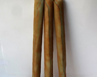 """Set of 2-3 Organic Spice Candle Tapers 10"""", Green Candles, Unique Taper Candles, Beeswax Candles, Rustic Candles, Mountain Cabin Decor"""