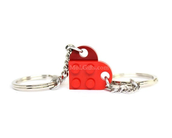 Valentine Heart Keychain Set - 2 Keychains Sharing 1 Heart made from Genuine LEGO® Pieces - CHOOSE COLORS