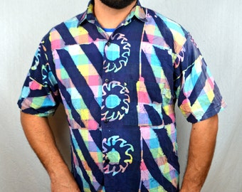 Vintage 1980s Batik Hippie Sun Moon Rainbow Cotton Button Up Shirt -  Bodily Objects