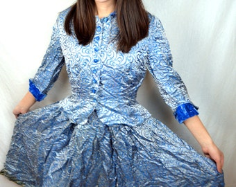 RARE Vintage 1950s 50s Lovely Brocade Blue Dress and Matching Fitted Blazer Jacket Set