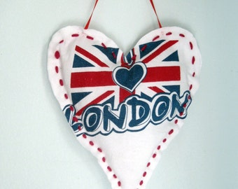 Heart, Fabric Heart, London, U.K. Flag, Wall Hanging, Handmade Heart Hanger, Door Hanger, by mailordervintage on etsy