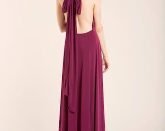 Burgundy Long dress, Floor Length Infininty Dress, Long Party Dress, Marsala dress, Versatile Dress, Wine Red Dress, Prom Dress, maxi dress