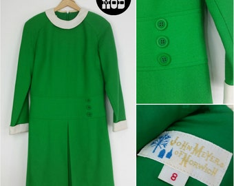 AWESOME Vintage 60s Mod Green & White Wool Blend Shift Dress - Very MOD POP!