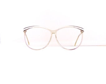 Bausch & Lomb Eyeglasses Frames // Women's 1980's //Translucent Clear with White /Black Detail Frames //Made in Italy//#M237