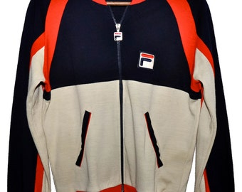 Vintage FILA Bjorn Borg Era Zip Up Tennis Track Jacket Warm Up Small S XS RARE Red Cream Navy Blue Made in Italy