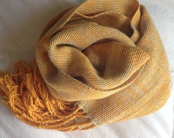 Handwoven Merino Scarf // mango / gold / yellow/ orange / icy blue / silver / autumn / winter / fall / lightweight / long