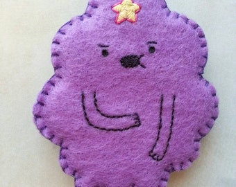 Handsewn Lumpy Space Princess brooch, adventure time pin, finn and Jake pin, felt pin