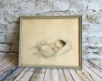 SALE, baby art, framed baby print, vintage art, antique baby print, baby decor, shabby chic art, vintage baby, framed baby, vintage art