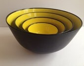 Sigvard Bernadotte Swedish Mixing Bowls Set of 4 - 1960s Husqvarna Yellow Black Mid Century Modern Mixing Bowls