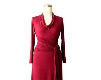 Plus size dress, Cowl neck dress, Plus size clothing, Long sleeve dress, Made to measure dress, Plus size wrap dress, Womens Clothing