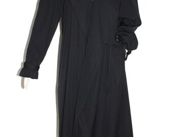 JEAN PAUL GAULTIER Classique Vintage Black Long Wool Wrap Trench Rain Coat - Authentic -