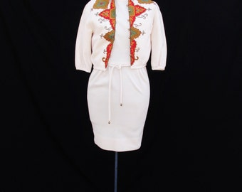 1960s Vintage Cream Wool Tank Dress with Embroidered Jacket