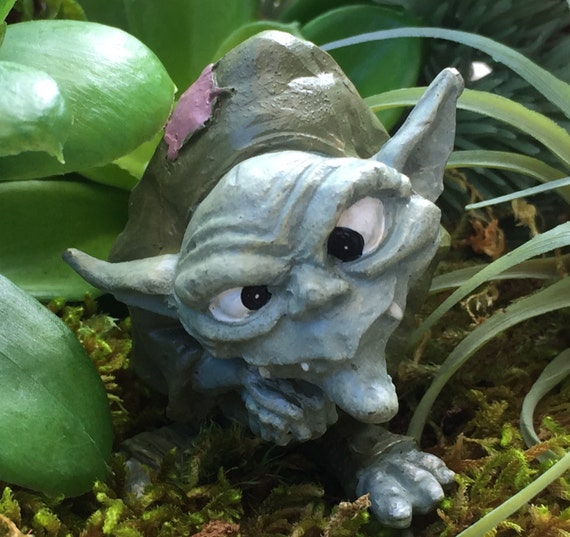 "Miniature Troll Figurine, ""Ollie"",  Garden Decor, Fairy Garden Accessory, Enchanted Garden, Cake Topper"