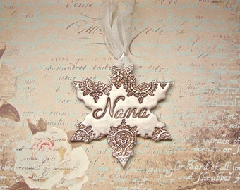 Personalized For Nana Vintage Style Polymer Clay Snowflake Ornament Christmas Holiday Winter Decor Gift For Her, Antique Bronze Pearl Finish