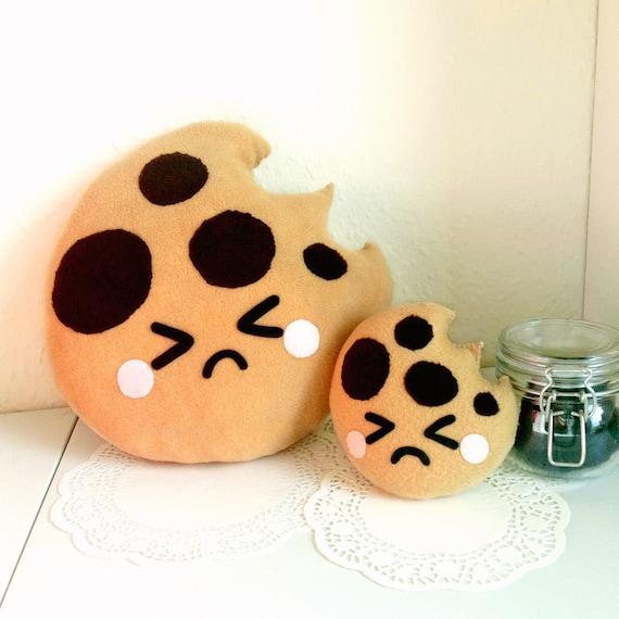Sad Cookie Plush Cushion, fun cookie plushie, bitten cookie cushion, cute home decor, food plush cushion, cookie soft toy, cute kids room