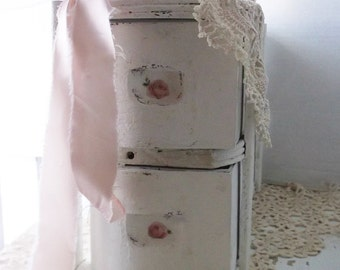 White Shabby Chic Cabinet. Upcycled Painted Treadle sewing cabinet. Storage organizer. Wood Drawer Box Bin.   Desk top . Craft Room.