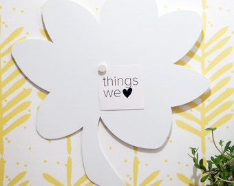 Magnet white board, Message board, Flower magnetic board, Nice wall decor, Office wall decor. Scandiavian style. Modern kids decor.