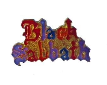 vintage BLACK SABBATH heavy metal enamel pin lapel badge button 666