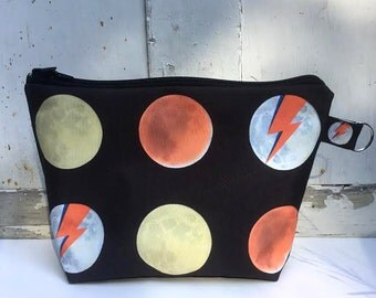 Phases of the Moon David Bowie Fan Art Zippered Bag by SBMathieu