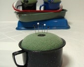 Pincushion Green in Black Enamelware Cup Handmade Sewing Make-Do