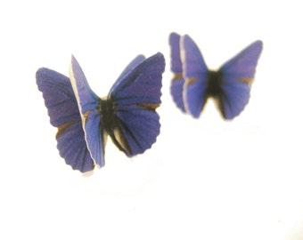 Recycled Paper Earrings - Recycled Jewelry Butterfly Jewelry Purple Stud Earrings