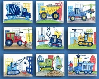 construction art prints, busy builder nursery art, construction truck artwork, construction bedding wall art, boy nursery art
