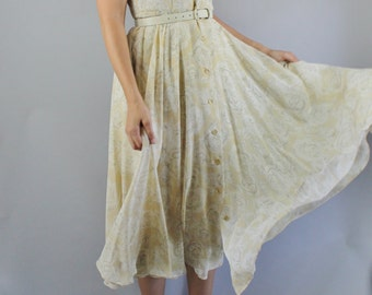 Vintage 80s does 50s Women's Beige Roses Print Flowy Chiffon Short Sleeve Wedding Guest Midi Full Skirt Day Dress