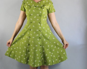 Vintage 50s 60s Bright Green Print Short Sleeved Spring Summer Mad Men Day Dress