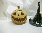 Halloween Pumpkin Decoration, Luminary - Candle holder, Tea Light - Jack o lantern -Handmade on the Potters Wheel - Ready to Ship