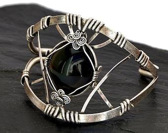 Black Gemstone Bracelet, Wire Wrap Cuff Bracelet, Silver Cuff Bracelet, Chunky Bracelet, Large Bracelet,