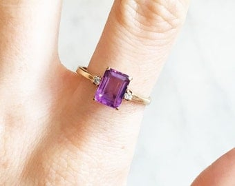 Vintage 60s Amethyst and Diamond Ring 10k Gold Emerald Cut Size 7 7.5