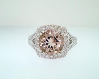 Pave Morganite Engagement Ring, Wedding Ring 14K White Gold Halo 2.98 Carat Handmade Certified